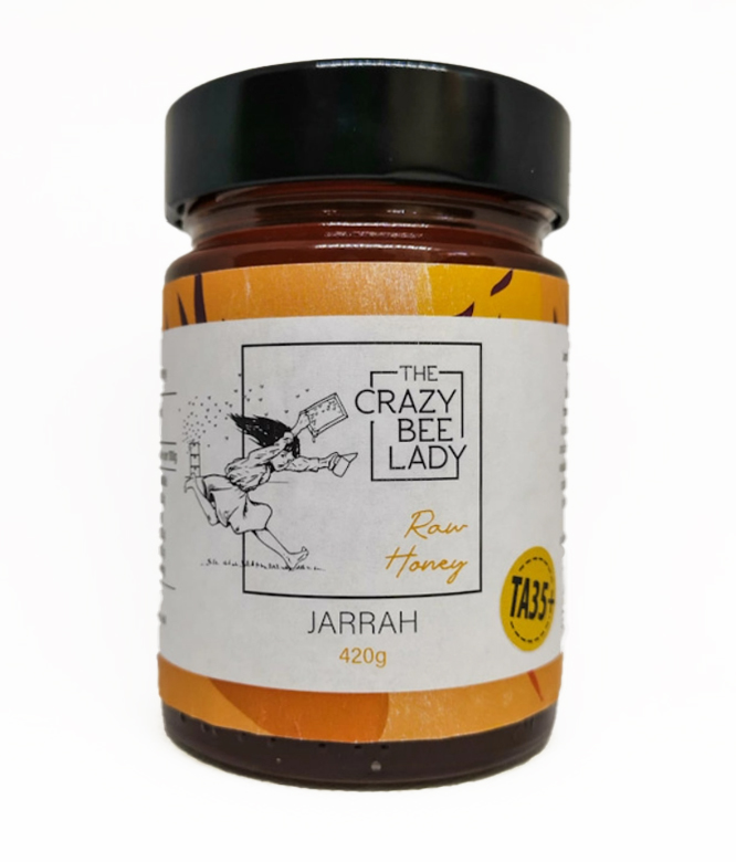 The Crazy Bee Lady Raw Jarrah Honey TA35+ 420g